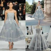 Short Embroidery Prom Dresses 2020 Strapless Lace Tea Length Party Gowns Plus Size Formal Evening dress robe de soiree