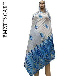 Image 2 - High Quality Chiffon Scarf mulim women embroidery chiffon splice tulle material big size scarf for shawls BM742