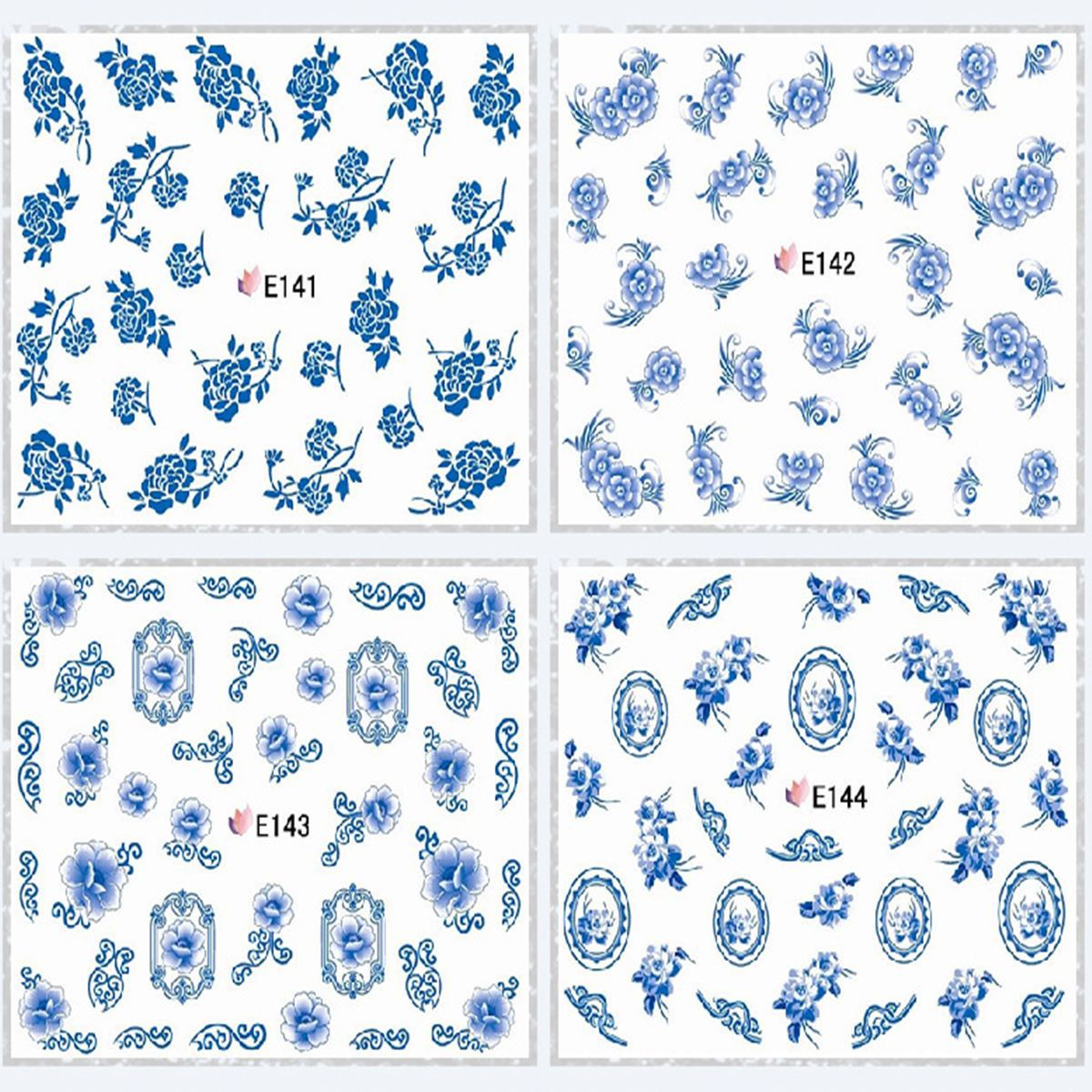 E105-159 Series 3D Suspender Strap Glue Nail Sticker Model Blue And White Porcelain Flower Nail Sticker Black Flower Adhesive Pa