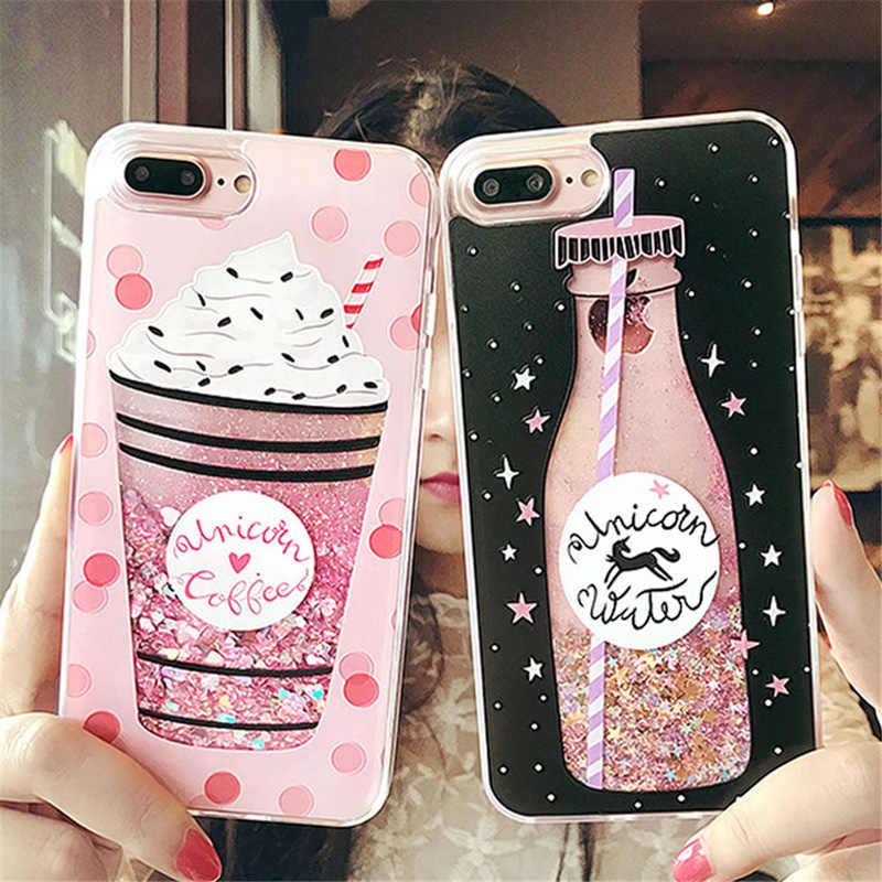 Brillant Quicksand Flamingo Animal chat téléphone étui pour iphone X XS 7 8 6 6S Plus Bling dynamique amour coeurs paillettes couverture arrière