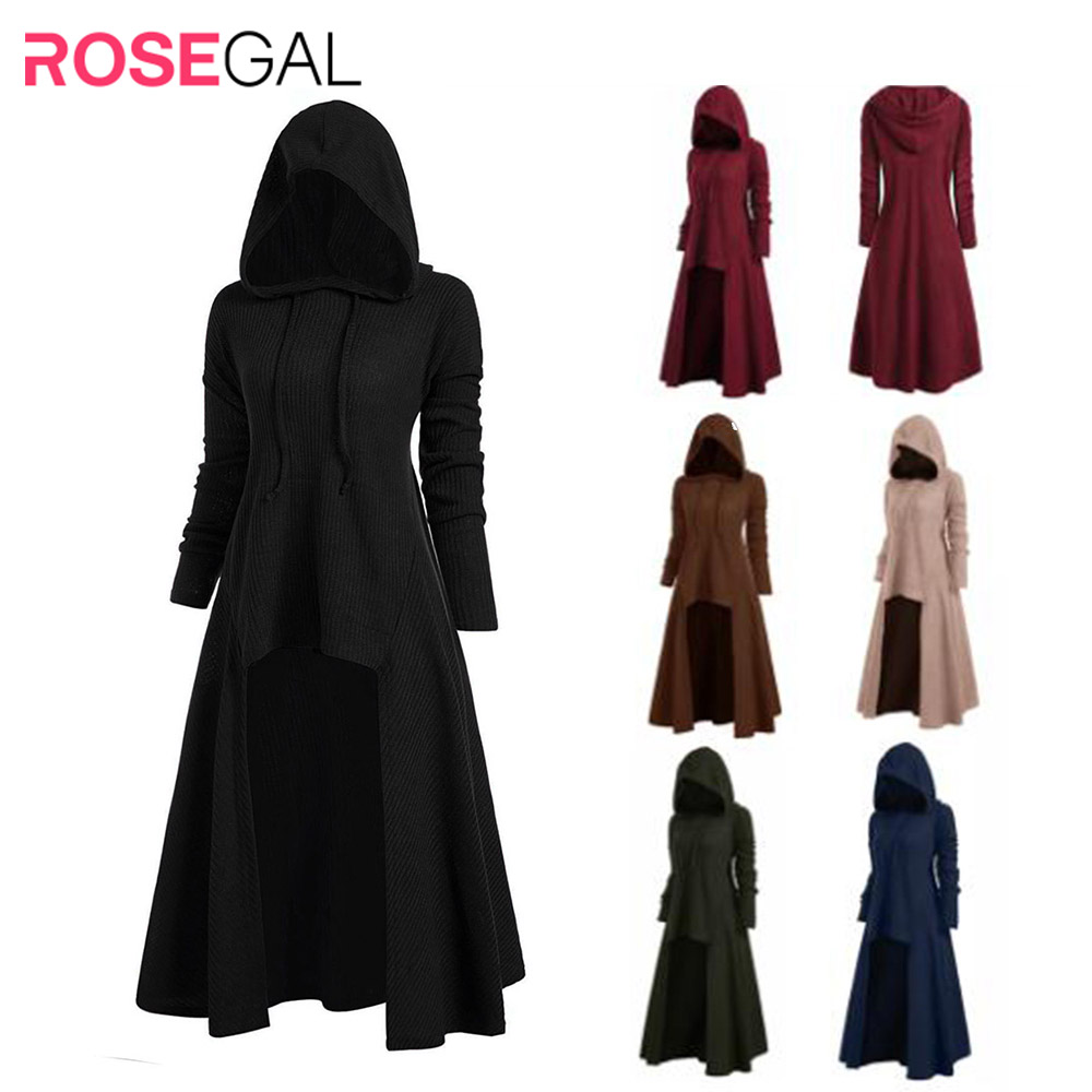 ROSEGAL Winter Sweater Womens Fashion Hooded Plus Size Vintage Cloak High Low Sweater Blouse Tops Harajuku Pullover Pull Femme