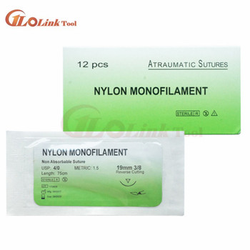 12Pcs/set Nylon Monofilament Medical Thread With Needle Suture Training Practice 75cm to Improve Medical Technique Exercise Tool 1