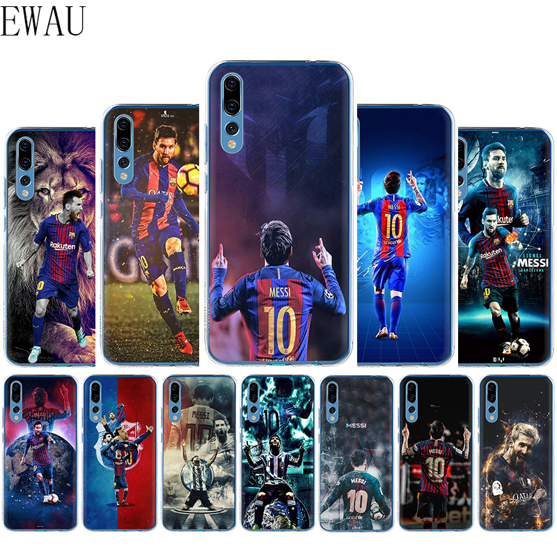 EWAU Barcelona Messi Silicone Mattle phone case for Huawei <font><b>Honor</b></font> 6A 7A 7C 7X 8C 8X 8 <font><b>9</b></font> Note 10 <font><b>Lite</b></font> view 20 9X pro image