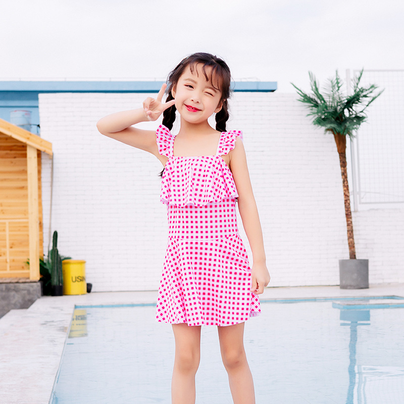 2019 New Style Children Flounced Hipster Plaid One-piece Big Boy Bathing Suit Conservative Boxer GIRL'S Swimsuit