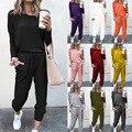 Свитер женский осенне-весенний, хлопковая уличная одежда, пуловер с капюшоном, спортивные брюки, костюм большого размера, свитшот, спортивн...