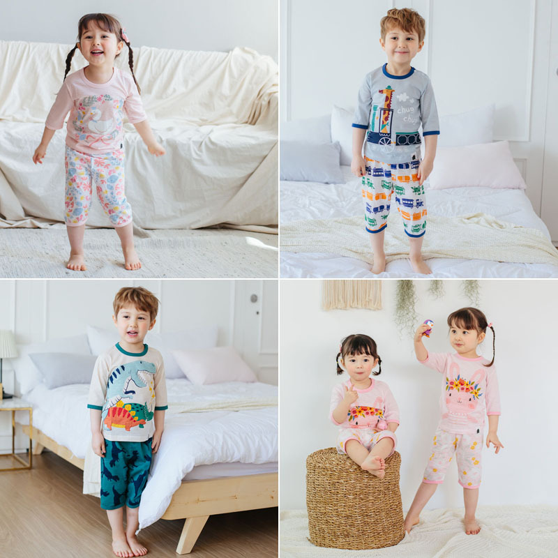 2019 CHILDREN'S Pajamas Summer Thin Section South Korea Home Wear Vovo Slub Cotton 7 Points Underwear Suit Batch