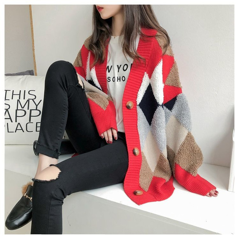 Cardigan sweater spring and autumn retro French lazy style knit cardigan women's mid length net red cardigan jacket