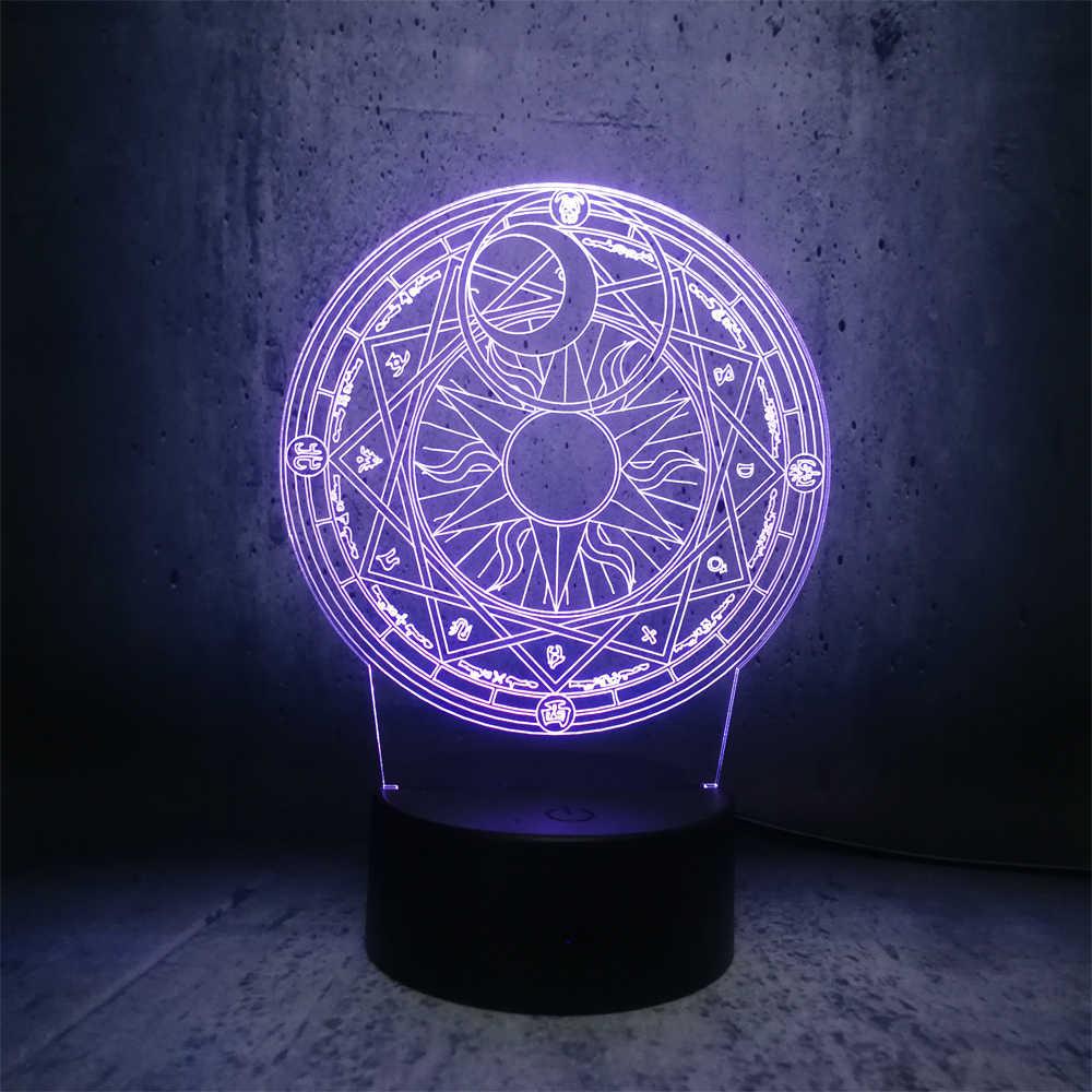 Magical Girl Magia array 3D Lampada USB Multicolore della Luce di Notte del LED di Illuminazione RGB Lampadina Luminaria Del Capretto giocattolo di notte della lampada per camera dei bambini