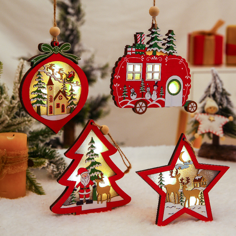 Christmas Ornaments Wooden Hanging Pendant LED Light Santa Claus Christmas Decorations For Home Tree Decor Kids Gift Wood Crafts
