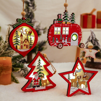 Christmas Ornaments Wooden Hanging Pendant LED Light Santa Claus Christmas Decorations For Home Tree Decor Kids Gift Wood Crafts led light christmas tree star car wooden pendants ornaments xmas diy wood crafts kids gift for home christmas party decorations