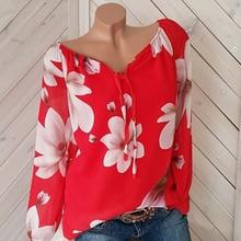 Fashion Women Floral Print Blouse Loose V-neck Long Sleeve Shirt Autumn Plus Size Blouses Shirts
