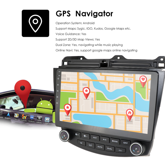 Ossuret 10.1 Android 10 radio samochodowe nawigacja GPS dla Honda ACCORD 7 2003-2007 Multimedia DVR SWC FM CAM-IN BT USB DAB DTV OBD PC