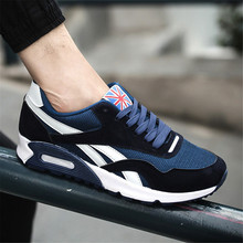 Non-Leather Casual Men Shoes Black Sneakers Cushion Breathab