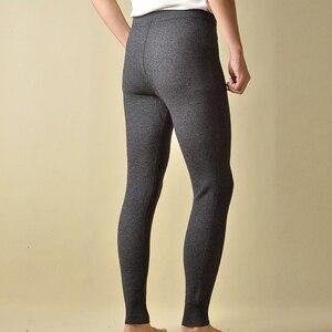 Image 2 - Gorąca sprzedaż spodnie męskie zagęścić męskie legginsy z dzianiny Cashmere ciepłe spodnie męskie 93 105 cm długości wełniane spodnie zima Knitting legginsy