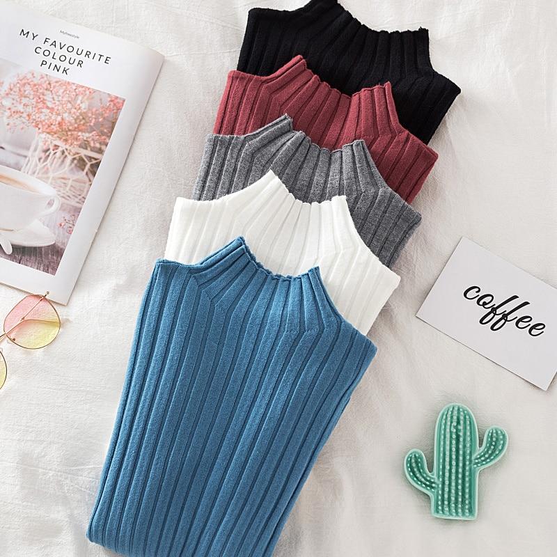 Croysier סוודר מצולעים סרוג סוודר סתיו חורף בגדי נשים 2020 גבוהה צוואר ארוך שרוול Slim בסיסי אישה סוודרים חולצות