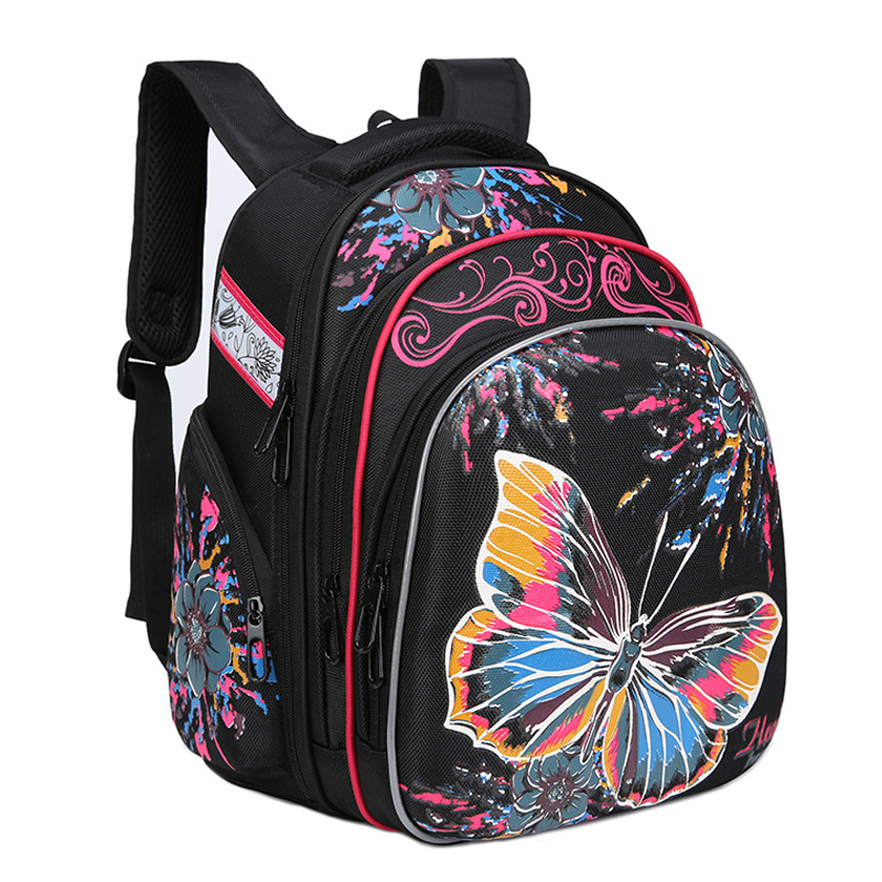Cartoon Butterfly Pattern Children's Space Backpack For Girs School Orthopedic Boy Car School Bags Kids Primary School Backpacks