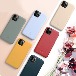 Image 2 - 2020 New 12 Color Genuine Leather Back Cover For iPhone 11 Pro Max 5.8 6.1 6.5 Cow Skin Phone Case Fashion Yellow Dark Green
