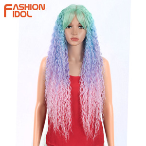 FASHION IDOL Kinky Curly Glueless 32 inch Synthetic Wigs For Black Women Ombre Blonde High Temperature Fiber Hair Lace Front Wig