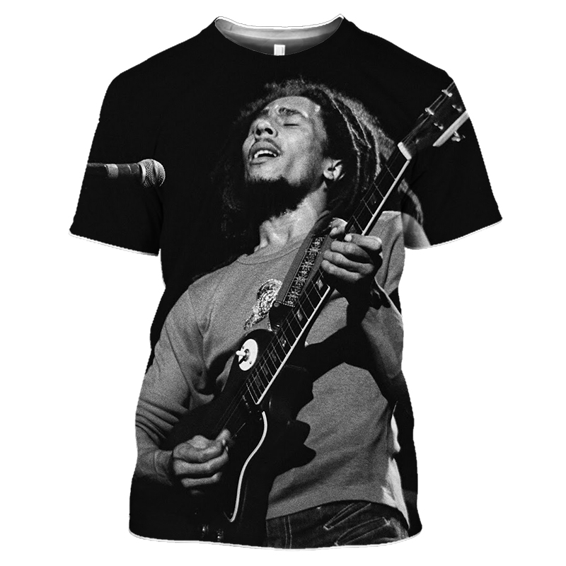 Bob Marley Rock Hip Hop T Shirt Men Male Summer Plus Size Streetwear Casual Short Sleeve Round Neck Weeds Reggae Star T-Shirt (9)