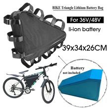 36V 48V Mountain Bike trójkąt Li-ion przechowywanie baterii torba elektryczna bateria litowa do rowerów trójkąt torba na baterie pokrywa tanie tanio CN (pochodzenie) Other Bryzgoodporna Bicycle Bags Panniers
