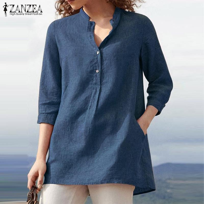 Fashion Button Shirts Women's Summer Blouse 2019 ZANZEA Casual 3/4 Sleeve Blusas Female V Neck Tops Plus Size Woman Tunic 5XL