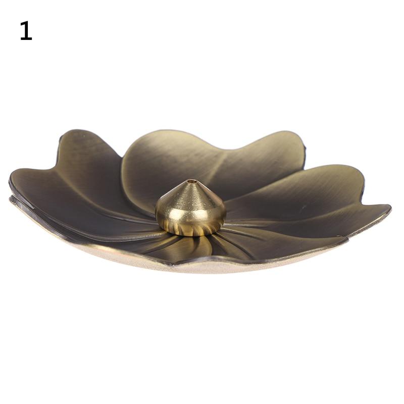 1PC Metal Lotus Backflow Incense Burner Perfume Flower Shape Home Incense Holder Alloy Fragrance Furnace Plate Stand