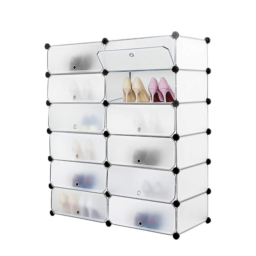 12 Cube Portable Shoe Storage Organizer Racks Plastic Cube Shoe Cabinet Shelving Shoe Rack Shelves For Shoes DIY Home Furniture