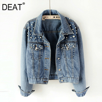 DEAT 2021 Fast Delivery New Autumn Fashion Women's Denim Jacket Full Sleeve Loose Button Pearls Short Lapel Wild Leisure AP446