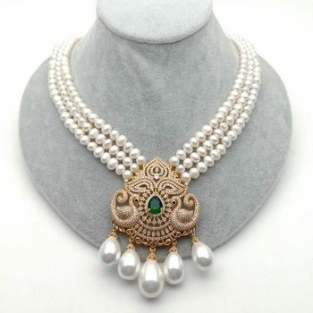 19'' 3 Strands 6-7MM Cultured White freshwater Pearl Necklace White Sea Shell Pearl Zircon Pendant