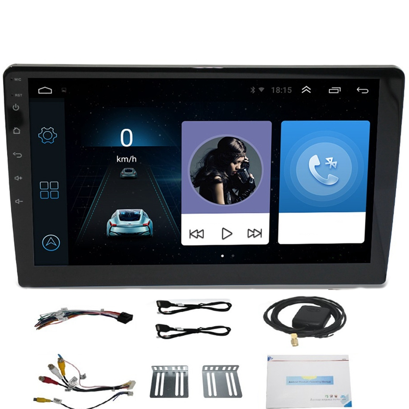 ABKK-10.1 Inch Android 8.1 Quad Core 2 Din Car Press Stereo Radio Gps Wifi Mp5 Player Us