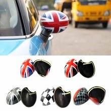 Capas para espelhos traseiros de porta 2 peças, adesivos para estilo de carro, mini cooper s, clubman, campo, paceman r55 r56 r57 r58 r59 r60 r61