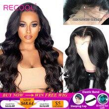 Recool de la onda del cuerpo 5x5 6x6 HD de cierre de encaje peluca 200% de densidad de la onda del cuerpo pelucas de cabello humano HD transparente Cierre de encaje peluca para mujeres