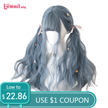 L-email wig 70cm Long Lolita Wigs Dusty Blue Wave Fashion Wig Women Hair Heat Resistant Synthetic Perucas