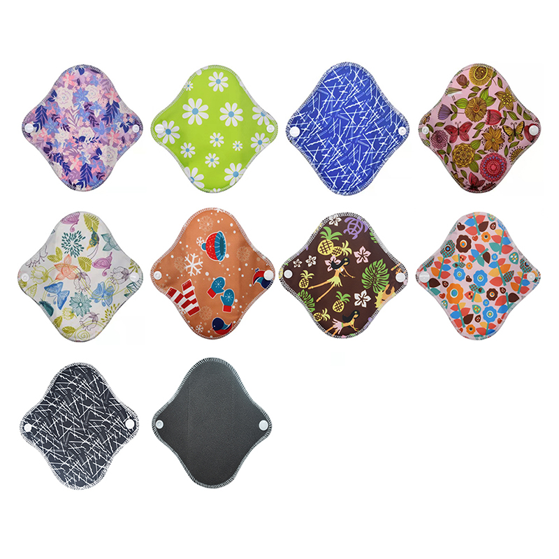 Washable Sanitary Towel Cloth Menstrual Pads Reusable Sanitary Pad Absorbent Reusable Charcoal Cloth Bamboo Menstrual Pads