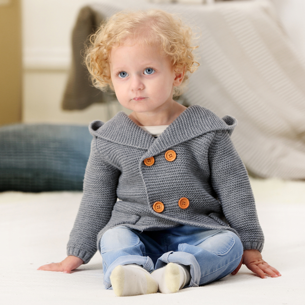 Baby Girl Sweater Winter Cartoon Bear Newborn Boys Cardigan Autumn Grey Toddler Knitted Jackets Long Sleeves Infant Knitwear Top-in Sweaters from Mother & Kids