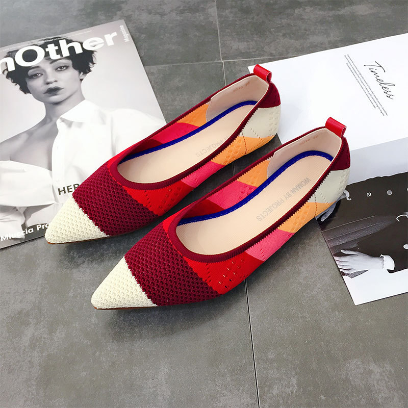 Casual Fashion Comfortable Pointed Toe Flat Shoes Women New Mesh Slip on Shoes for Women Ladies Flats Knitted Loafers VT667 (5)