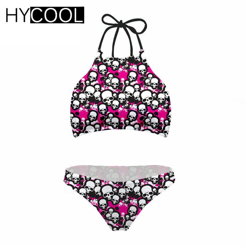 HYCOOL <font><b>Bikini</b></font> 2020 Swimming Suit for Women <font><b>3D</b></font> Skull Pattern High Neck Bandage Swimwear Women Swimsuit XXL Dropshipping image