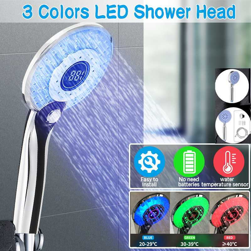 3 Color LED Shower Head Digital LCD Display Temperature Control Shower Head Powered By Tap Water