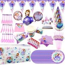 Милая мультяшная Принцесса София одноразовые бумажные чашки тарелки салфетки баннер скатерть детский душ День Рождения украшения принадлежности