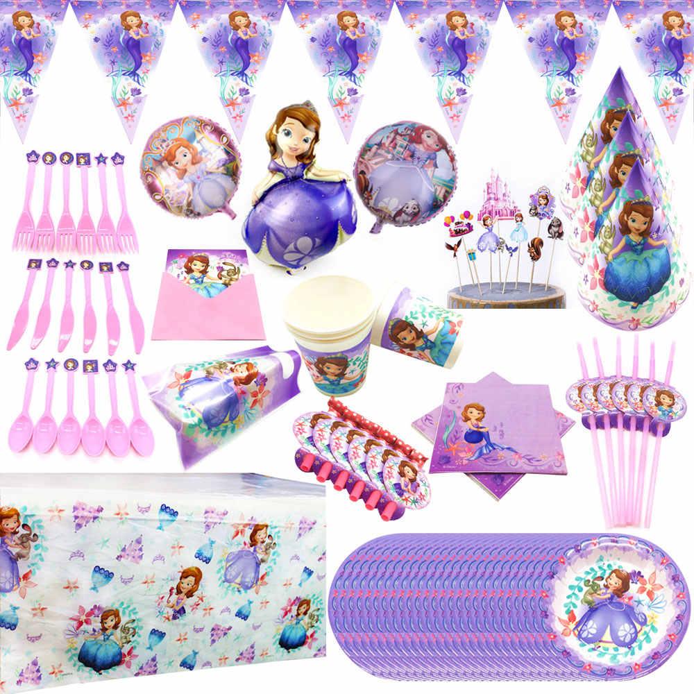 Leuke Cartoon Sofia Prinses Wegwerp Papier Cup Borden Servetten Banner Tafelkleed Baby Shower Verjaardagsfeestje Decoratie Benodigdheden