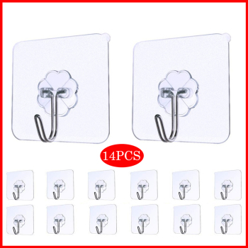14pcs Strong Transparent Self Adhesive Door Wall Hangers Suction Cup Sucker Wall Hooks Hanger For Kitchen Bathroom Accessories