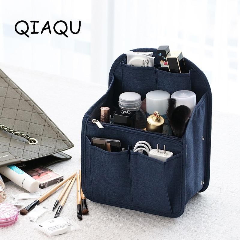 QIAQU High Quality Organizer Insert Bag Women Travel Insert Divider Purse Large Capacity Men Tote Liner Makeup Cosmetic Handbag