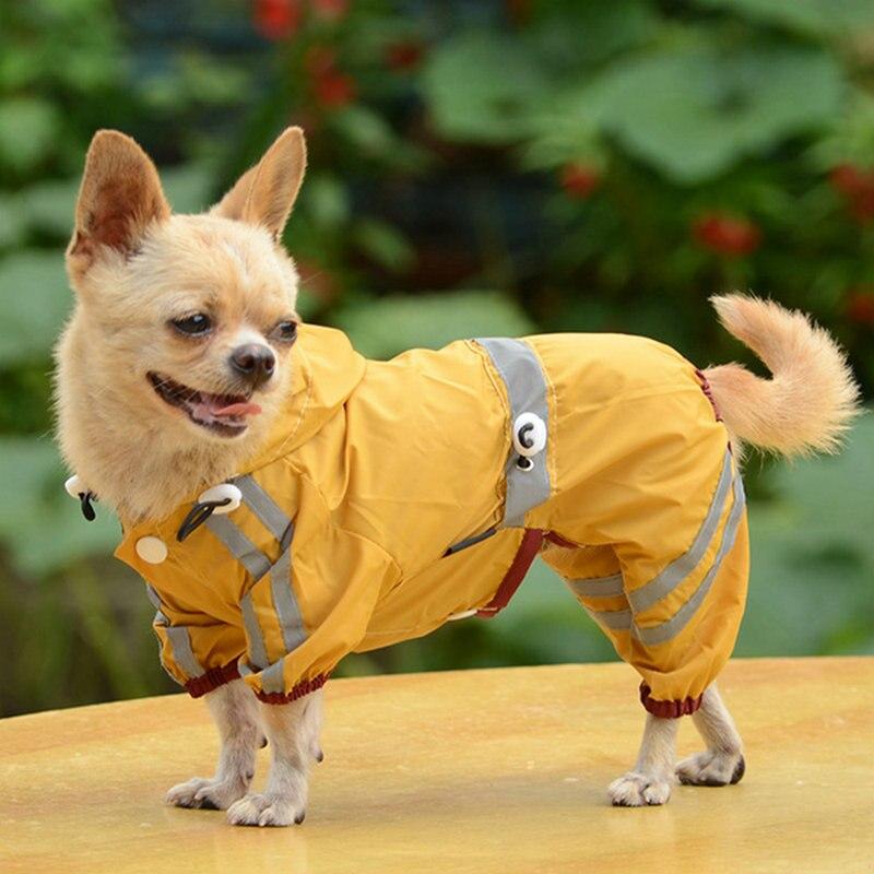 A Pet Dog Cat Raincoat Clothes Puppy Jumpsuit Hoody Waterproof Rain Jackets