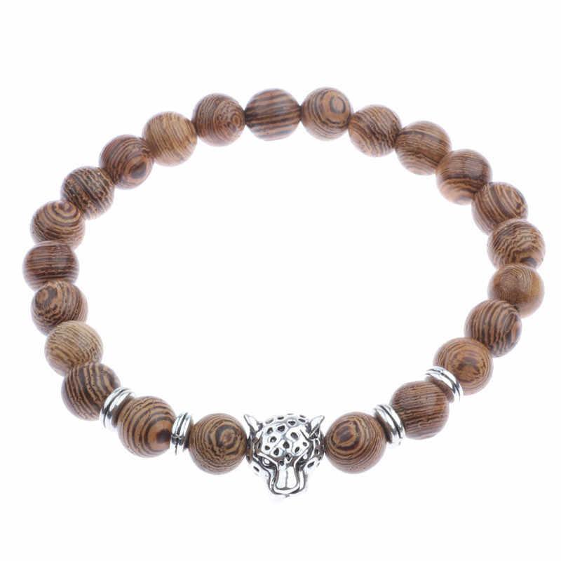 8 mm z prawdziwego drzewa sandałowego różaniec bransoletki mężczyźni Leopard głowy krzyż korona bransoletki i Bangles kobiety koraliki drewniane biżuteria