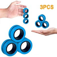 Spinner antiestrés para niños, 3 uds., pulsera magnética divertida, anillo de utilería mágico, antiestrés