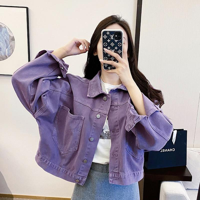 Purple Denim Jacket Women Spring And Autumn 2020 New Women Coat  Yellow Pink Clothings Popular Women's Ladies Short Jacket