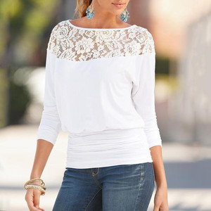 full sleeves top for women Ladies blouse 2020 Fashion Lace Round Neck Long Sleeve Shirt Blouse Hollow out blusa mujer elegante(China)