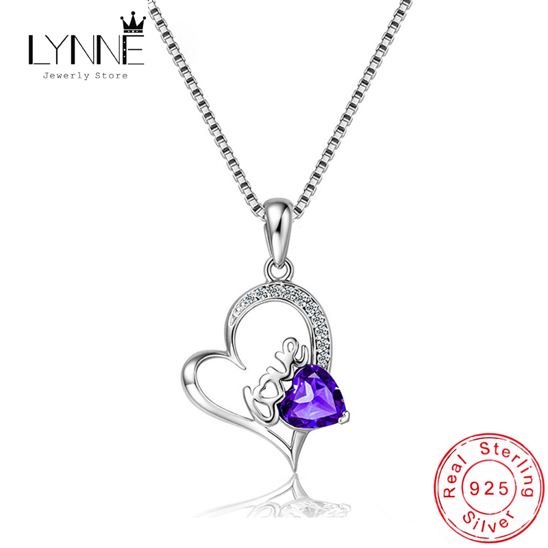 New Fashion Argento 925 Cuore Zircone Ciondolo Collana Viola Strass Collarbone Catena Collane Regalo Gioielli Donna
