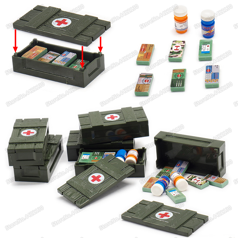 WW2 Battlefield Building Blocks First Aid Supply Box DIY Military Special Police City Series With Figures Moc Christmas Gift Toy