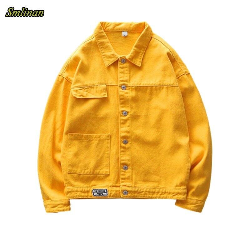 Женская джинсовая куртка Smlinan, свободная однобортная уличная джинсовая куртка с отложным воротником и карманами, весна осень Куртки    АлиЭкспресс